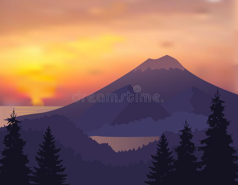 Landschap met silhouetten van bergen, heuvels, bomen met zonsopgang of zonsonderganghemel - vectorillustratie stock illustratie