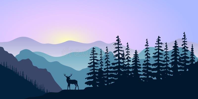 Landschap met silhouetten van herten, bergenherten en bos bij zonsopgang Vector illustratie stock illustratie