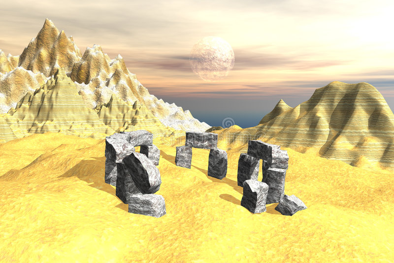 Landschap met steenmonument vector illustratie