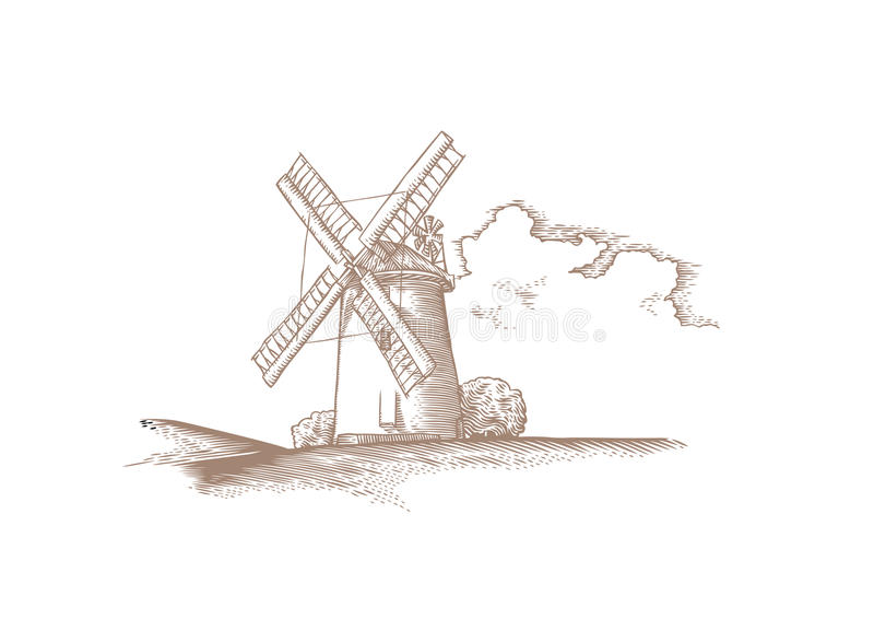Landschap met steenwindmolen en wolk vector illustratie