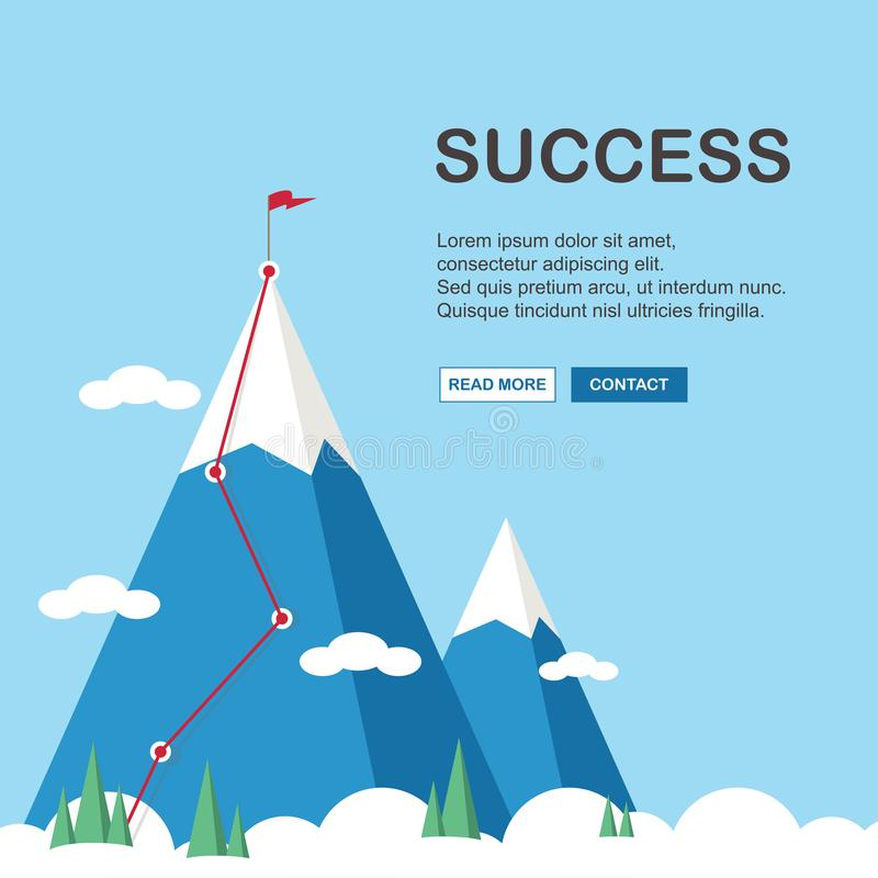 Landschap met vlag op de berg Succes in zaken Vector illustratie royalty-vrije stock afbeeldingen