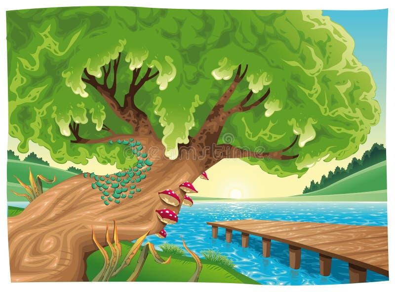 Landschap met water. royalty-vrije illustratie