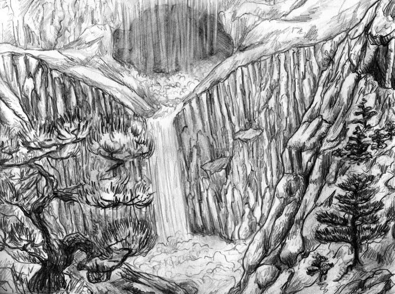 Landschap met waterval en hol vector illustratie