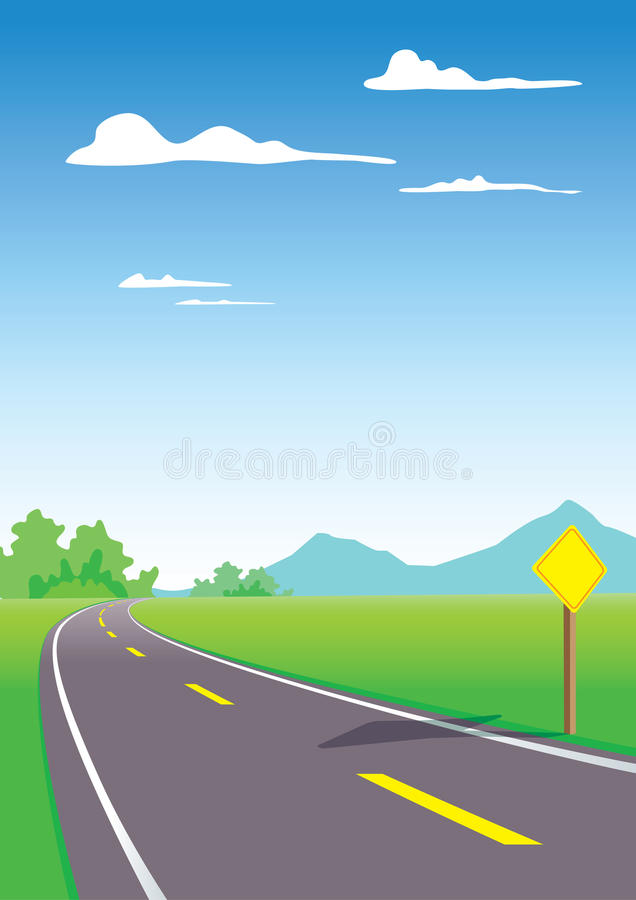 Landschap met weg vector illustratie