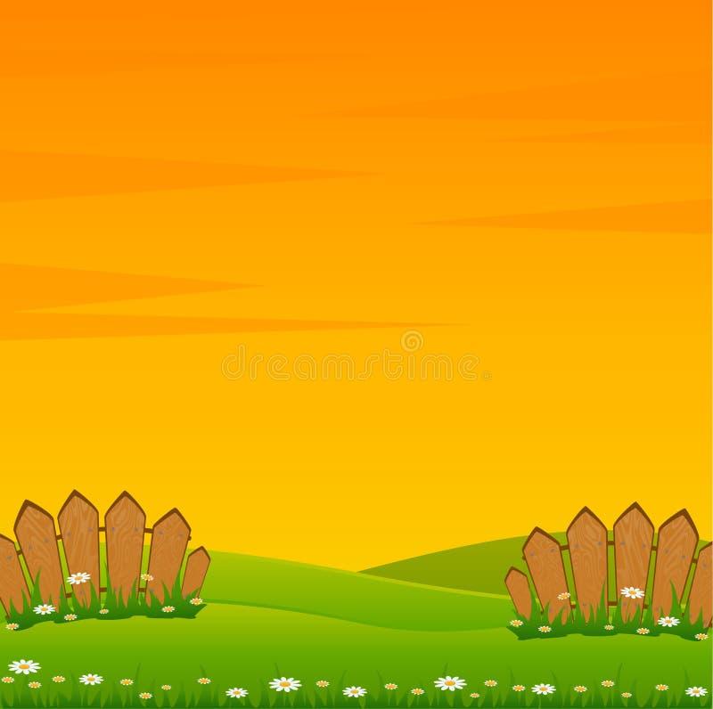 Landschap met Weg en Omheining stock illustratie