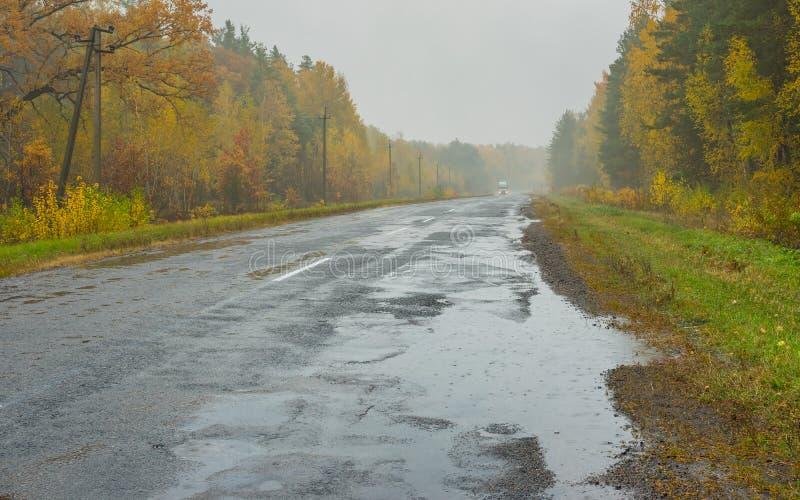 Landschap met weg, regen en mist in de Oekraïne stock fotografie