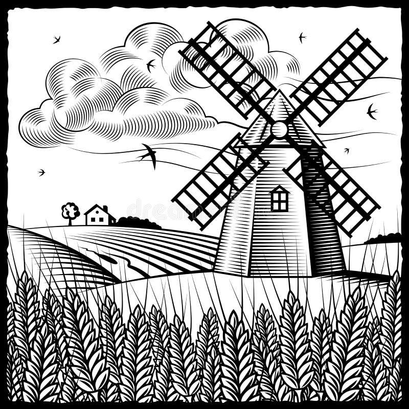 Landschap met zwart-witte windmolen vector illustratie
