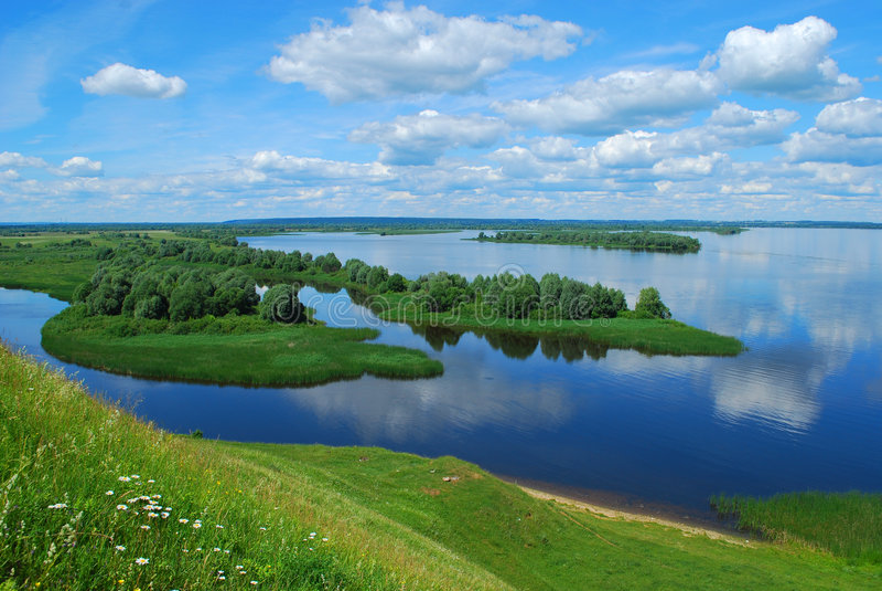 Landschap op de Rivier Volga royalty-vrije stock afbeelding