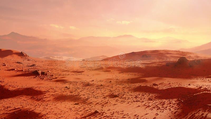Landschap op planeet Mars, toneelwoestijnscène op het rode planeet 3d ruimte teruggeven stock afbeeldingen
