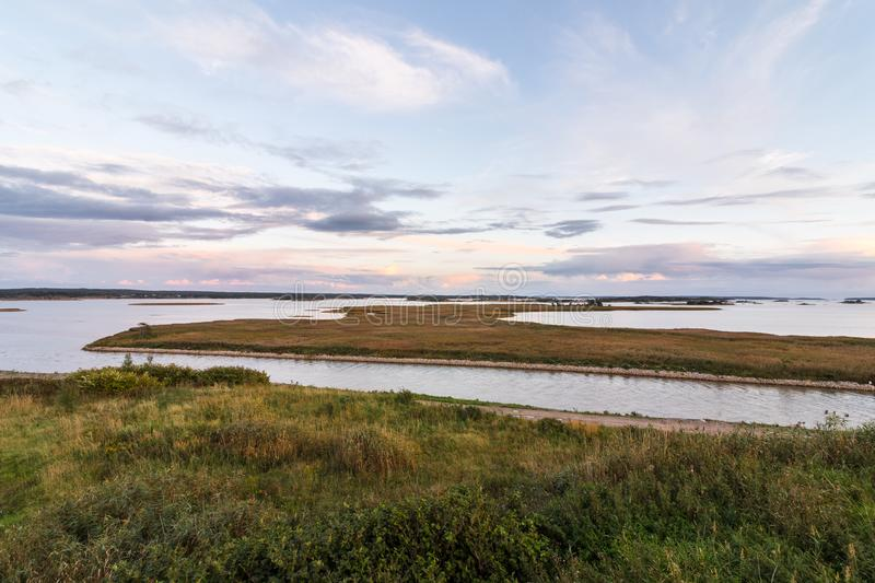 Landschap in Ora-natuurreservaat in Fredrikstad, Noorwegen stock foto