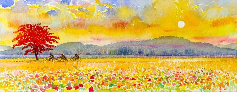 Landschap originele het schilderen familiegeschiktheid door ritfiets en zonsondergang royalty-vrije illustratie