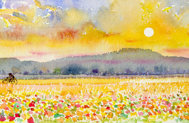 Landschap originele het schilderen familiegeschiktheid door ritfiets en zonsondergang stock illustratie
