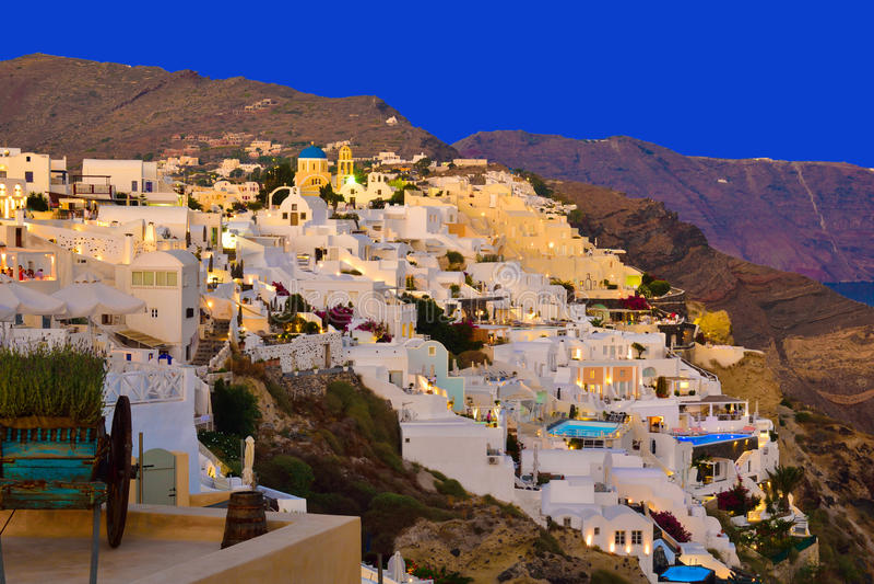 Landschap over de Santorini-architectuur royalty-vrije stock foto's