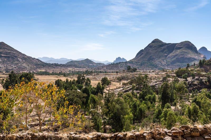 Landschap rond de Ruïnes van de Yeha-tempel in Yeha, Ethiopië stock afbeelding