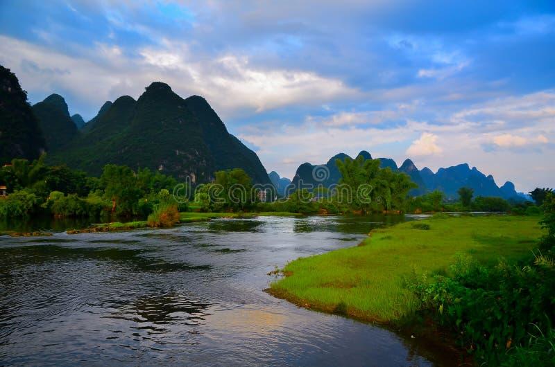 Landschap rond Yangshou stock afbeeldingen