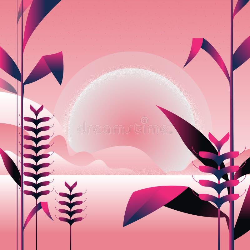 Landschap in roze en purpere kleuren bergen en aard in minimale stijl Struiken, bomen, bloemen, bladeren Vector illustratie vector illustratie