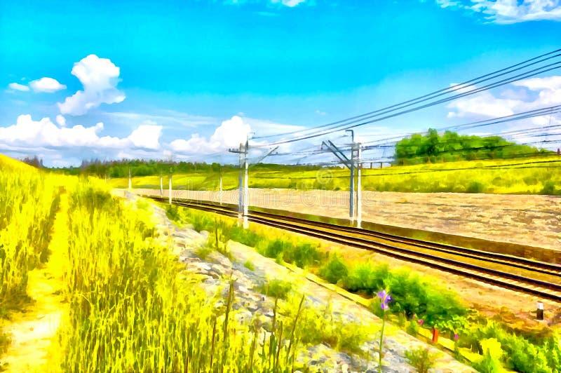 Landschap Spoorweg op plattelandsgebied in de zomer Het digitale schilderen stock illustratie