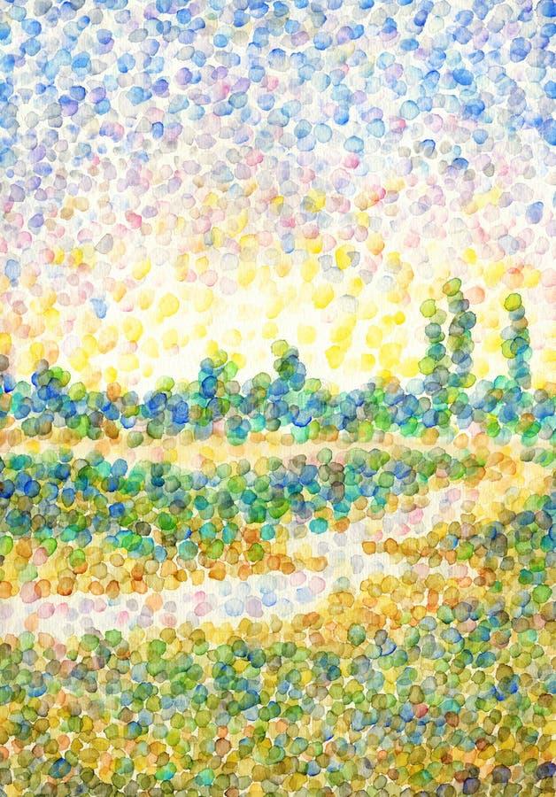 Landschap in stijl van pointillisme Rivier op gebied