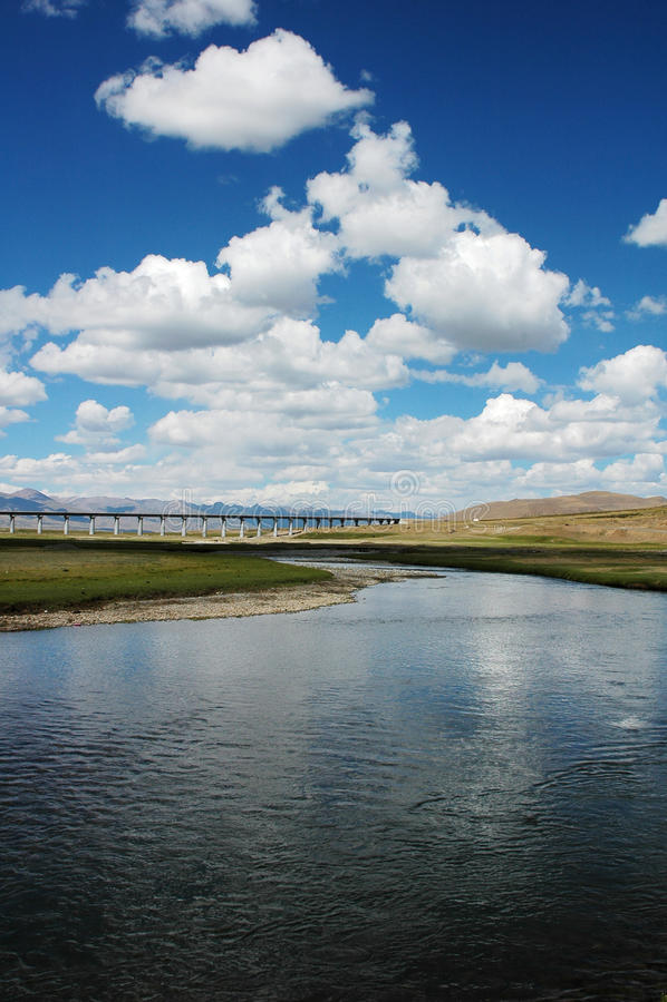 Landschap in Tibet stock afbeeldingen