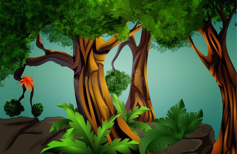 Landschap - tropisch bos (wildernis) stock illustratie