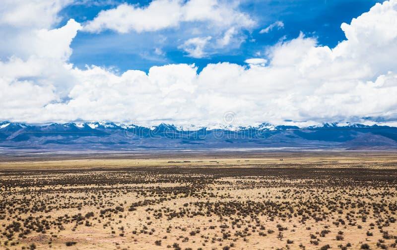 landschap tussen Uyuni en La Paz, Bolivia Woestijnlandschap in Bolivia stock fotografie