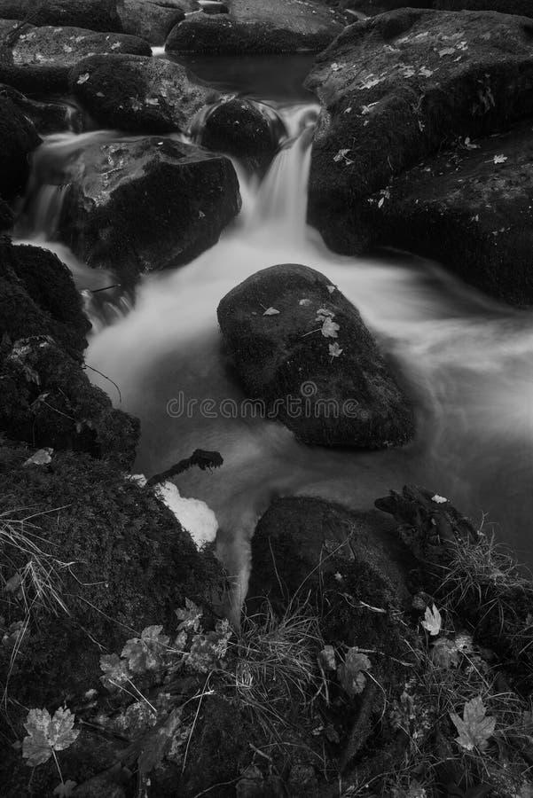 Landschap van Becky Falls-waterval in het Nationale Park Eng van Dartmoor stock foto's