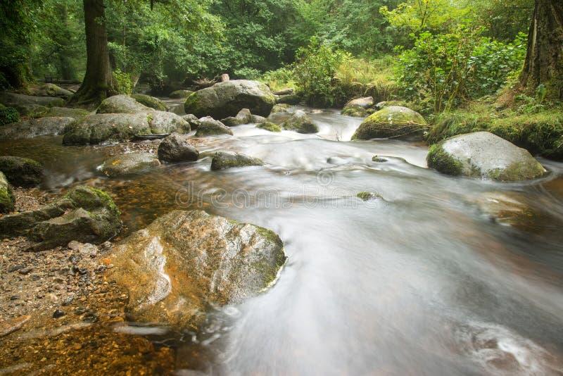 Landschap van Becky Falls-waterval in het Nationale Park Eng van Dartmoor royalty-vrije stock foto