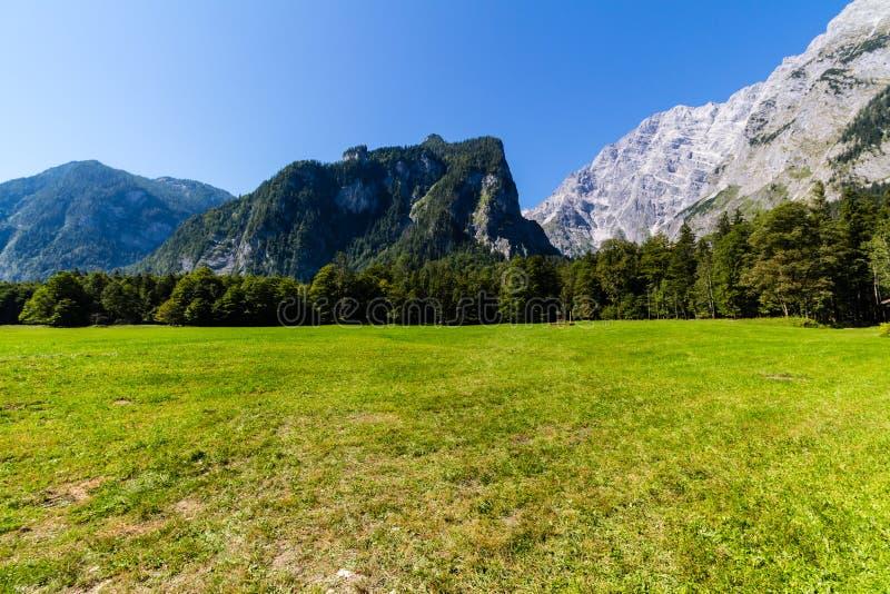 Landschap van bergen, groen gebied, hemel, bos in Konigsee, Duitsland stock foto's