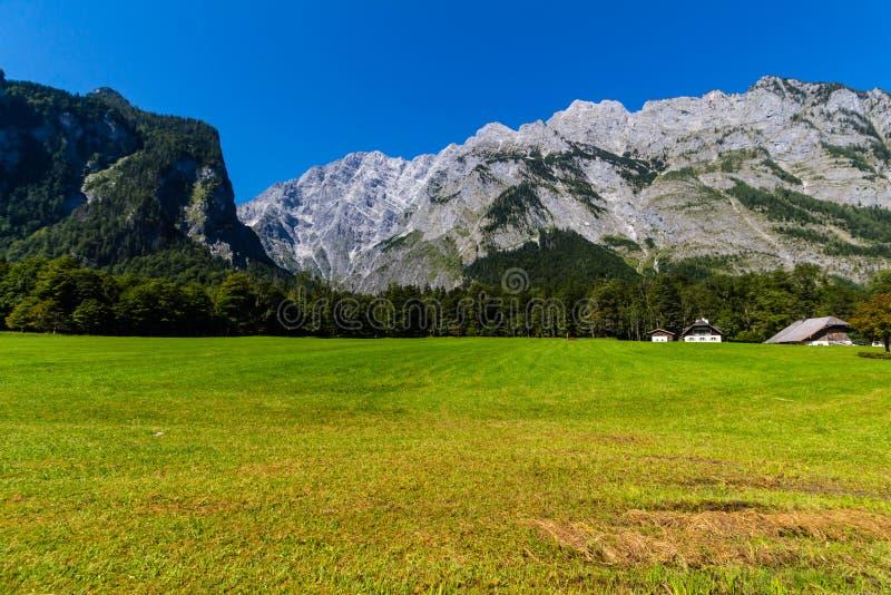Landschap van bergen, groen gebied, hemel, bos in Konigsee, Duitsland royalty-vrije stock fotografie