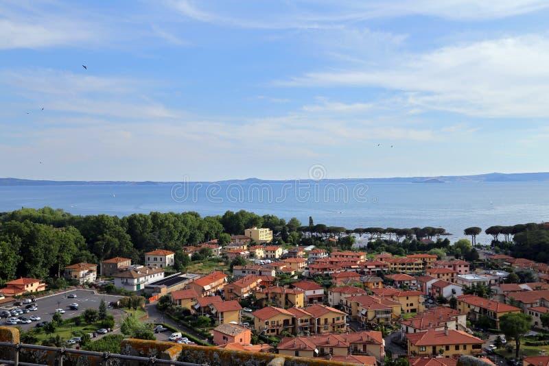 Landschap van Bolsena-Meer, Viterbo royalty-vrije stock foto