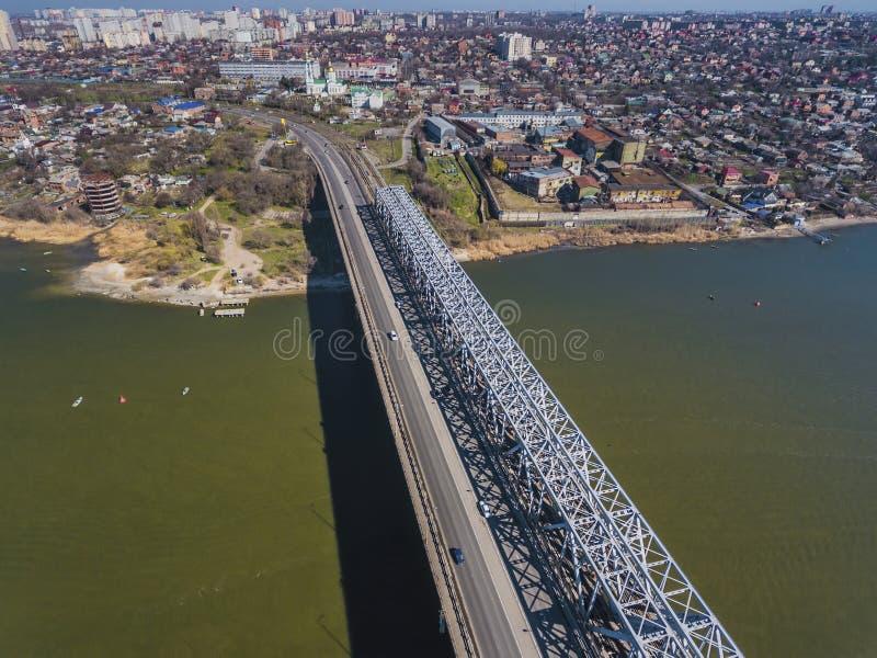 Landschap van brug over Don rivier royalty-vrije stock afbeelding