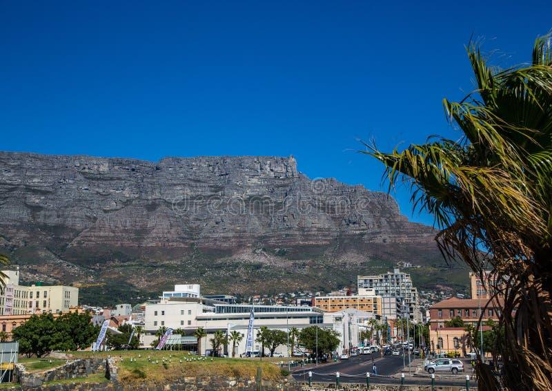 Landschap van Cape Town met zelden mening van de Lijstberg zonder wolken in Zuid-Afrika royalty-vrije stock afbeeldingen