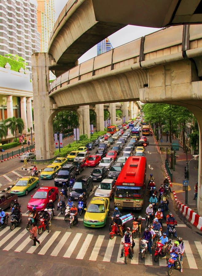 Landschap van centrale straten van Bangkok royalty-vrije stock fotografie