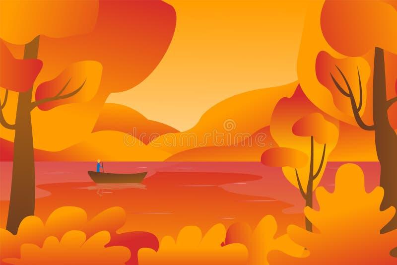 Landschap van de berg het gele vallei Het meer toneelmening van het de herfstseizoen Visser op kalme rivier binnen Bladdaling op  royalty-vrije illustratie