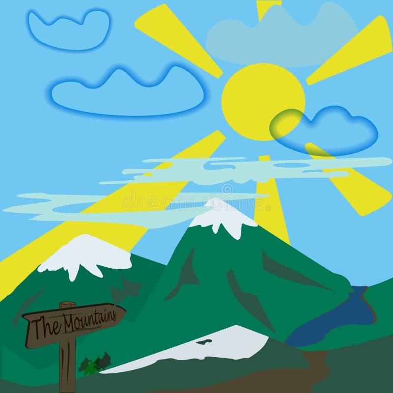 Landschap van de berg het vectorillustratie stock illustratie
