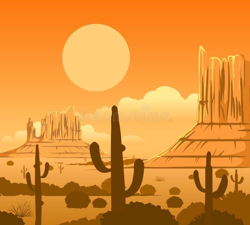 Landschap van de het westenwoestijn van Amerika het wilde stock illustratie