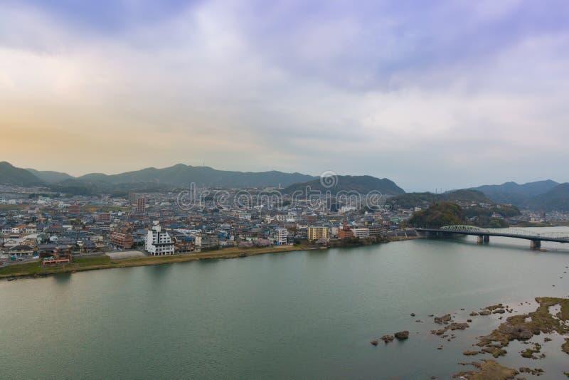 Landschap van de mening van de inuyamastad met kisorivier royalty-vrije stock afbeelding