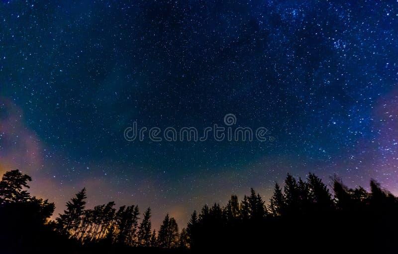 Landschap van de nacht het sterrige hemel royalty-vrije stock foto's