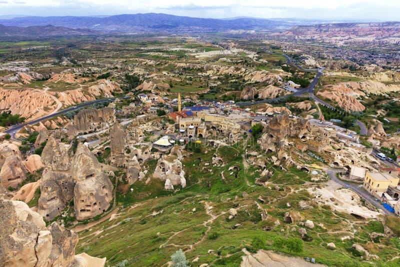 Landschap van de oude holen van Cappadocia in Turkije, hoogste mening stock foto's