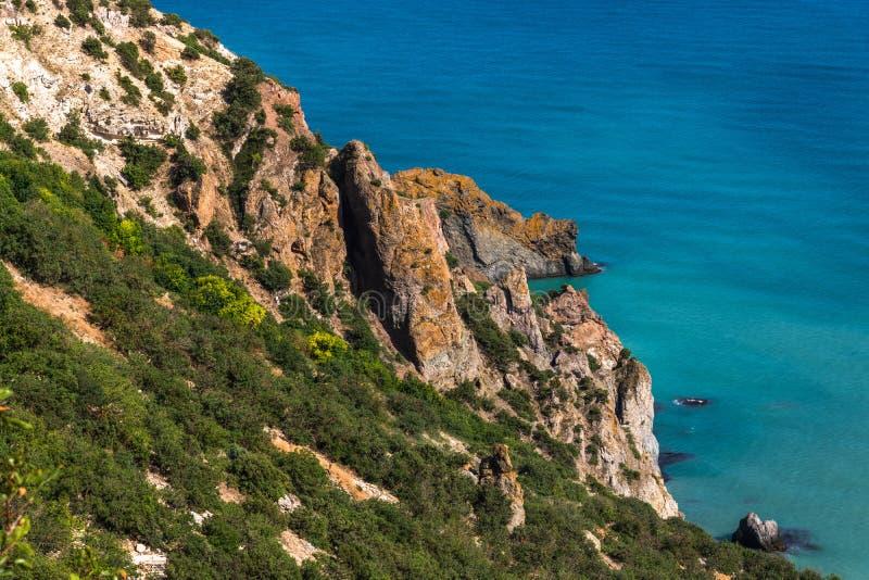 Landschap van de overzeese kust in de Krim stock afbeelding