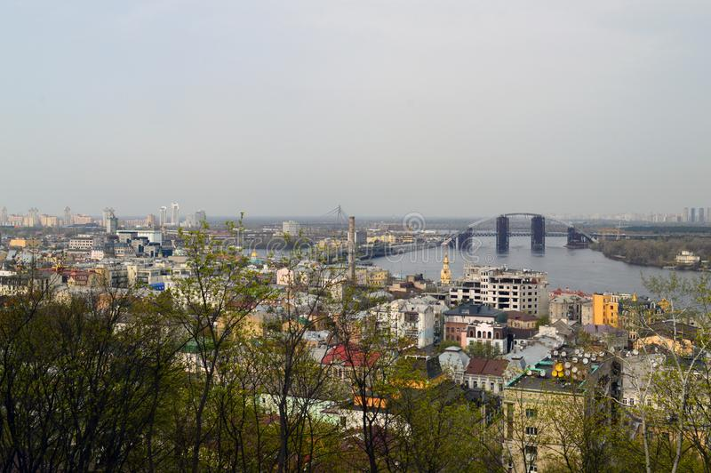 Landschap van de stad van Kiev van een hoogte royalty-vrije stock foto's