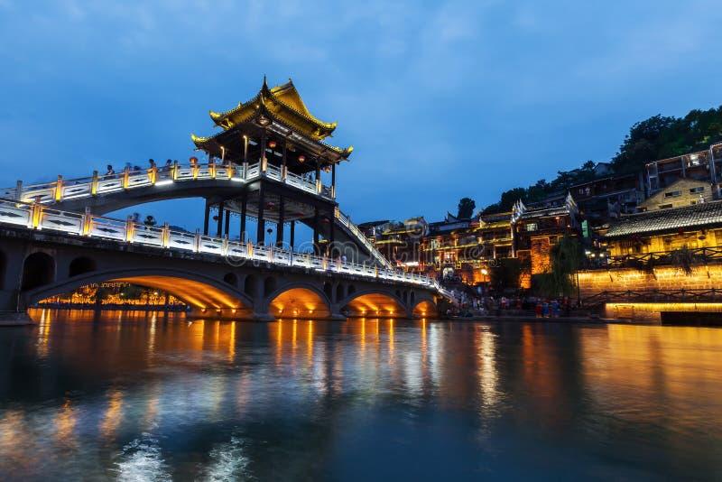 Landschap van de de Stadsnacht van Hunan Fenghuang het Oude stock afbeelding