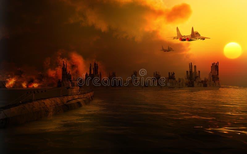 Landschap van de vernietigde stad stock illustratie