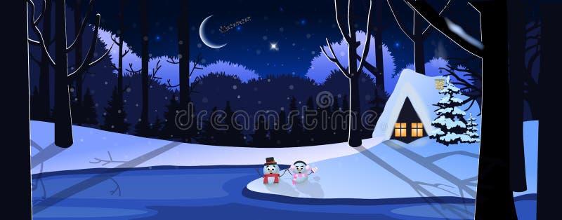 Landschap van de de winter het sneeuwnacht met weinig huis in bos, leuke sneeuwmannen en het berijden van de Kerstman in de hemel stock illustratie