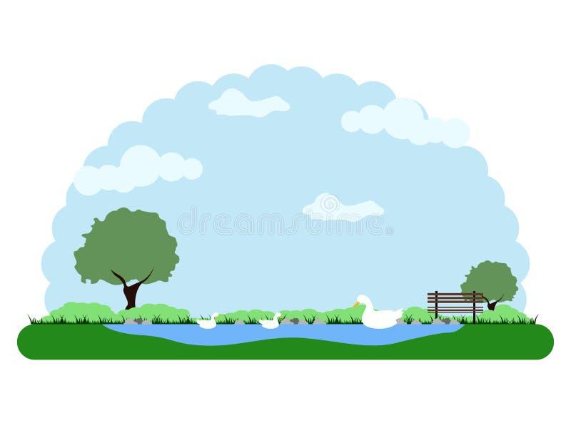 Landschap van een park met een meer en eenden stock illustratie