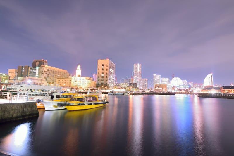 Landschap van gebied het van de binnenstad van Minatomirai in Yokohama, Japan stock afbeelding