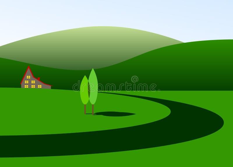 Landschap van groene kleur stock illustratie