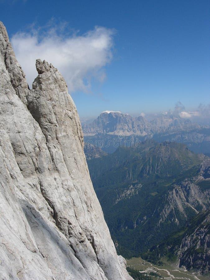 Landschap van het beklimmen in marmolada royalty-vrije stock afbeeldingen