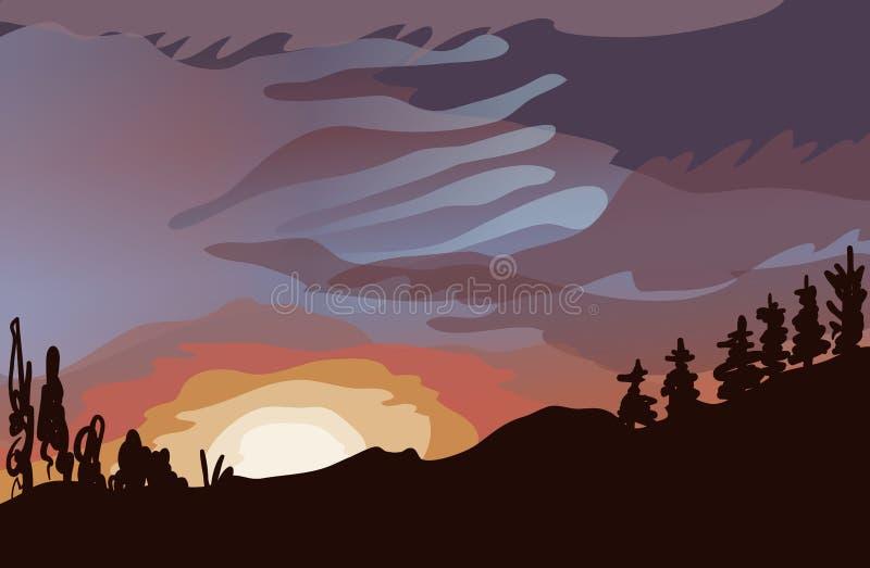Landschap van het bos, de zonsondergang, de wolken en de mooie hemel stock afbeelding