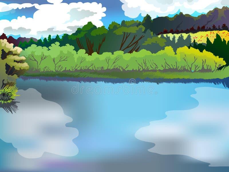 Landschap van het bos en de rivier Beeld vectoraard, bos, meer, tegen de blauwe hemel stock afbeeldingen
